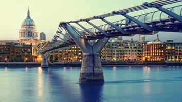 St. Paul`s Cathedral and Millennium Bridge